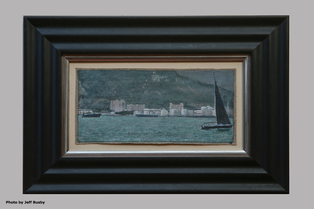 James Yuncken, Black Sail, Hong Kong Harbour, 10 × 21.5 cm, acrylic on canvas, 2019