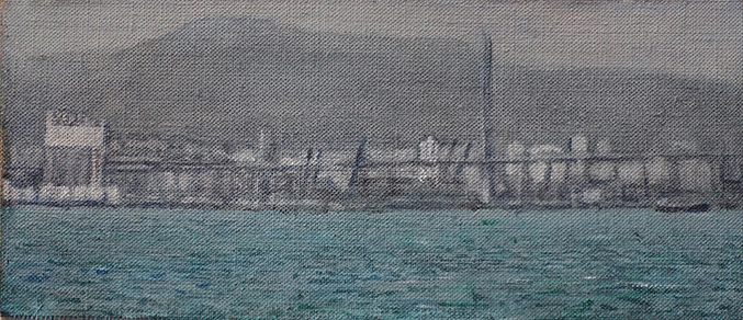 James Yuncken, Harbour View 2 Hong Kong Harbour, 8.5 x 20 cm, acrylic on canvas, 2019