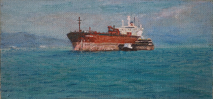James Yuncken, Cargo Ship, 10 x 21 cm, acrylic on canvas, 2019