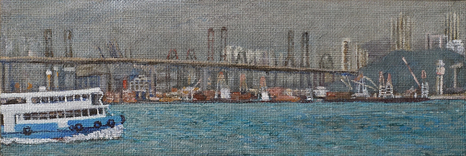 James Yuncken, Ferry crossing, 9.5 x 28 cm, acrylic on canvas, 2019