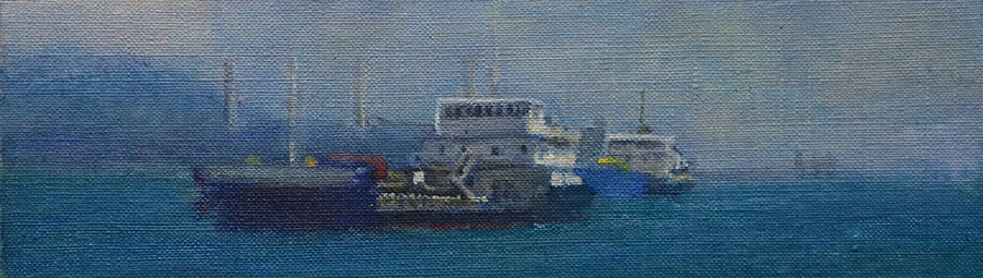James Yuncken, Ships off Lamma Island II, 7.5 x 26 cm, acrylic on canvas, 2020
