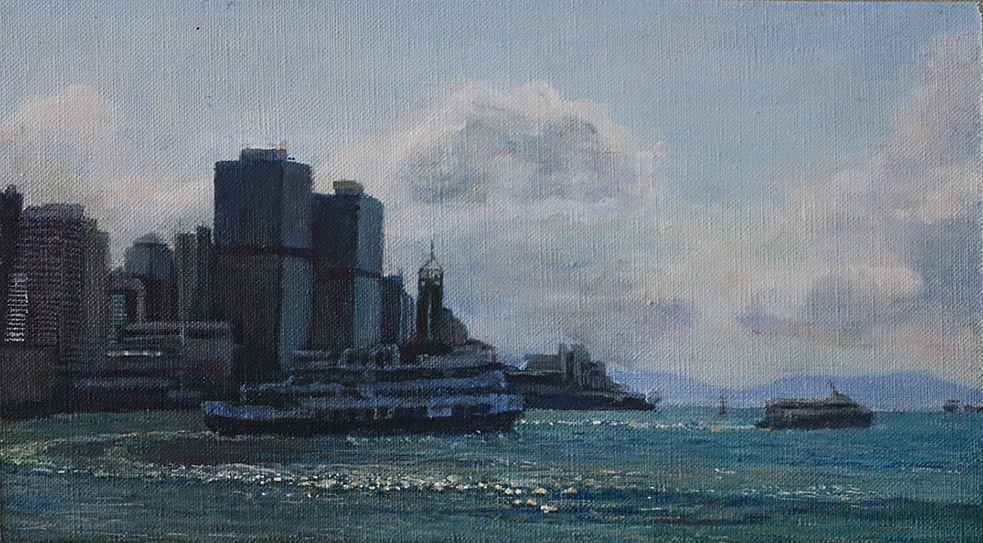 James Yuncken, Ferries departing Central, 16 x 29 cm, acrylic on canvas, 2020