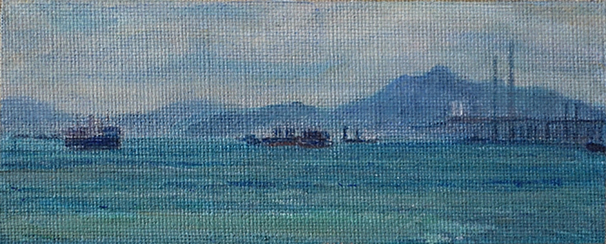James Yuncken, New Territories From Victoria Harbour II, 7 x 17.5 cm, acrylic on canvas, 2020