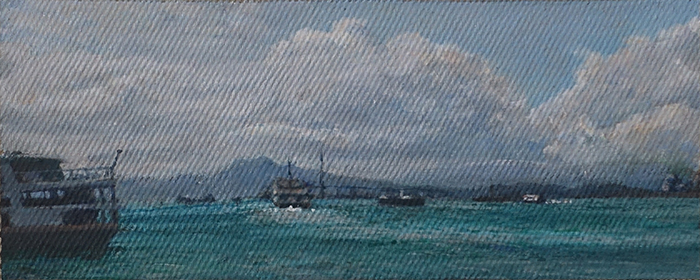 James Yuncken, Boats on Hong Kong Harbour, 8 × 20 cm, acrylic on canvas, 2020